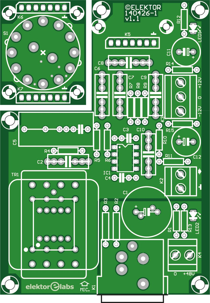 simple preamp for professional microphones - bare PCB