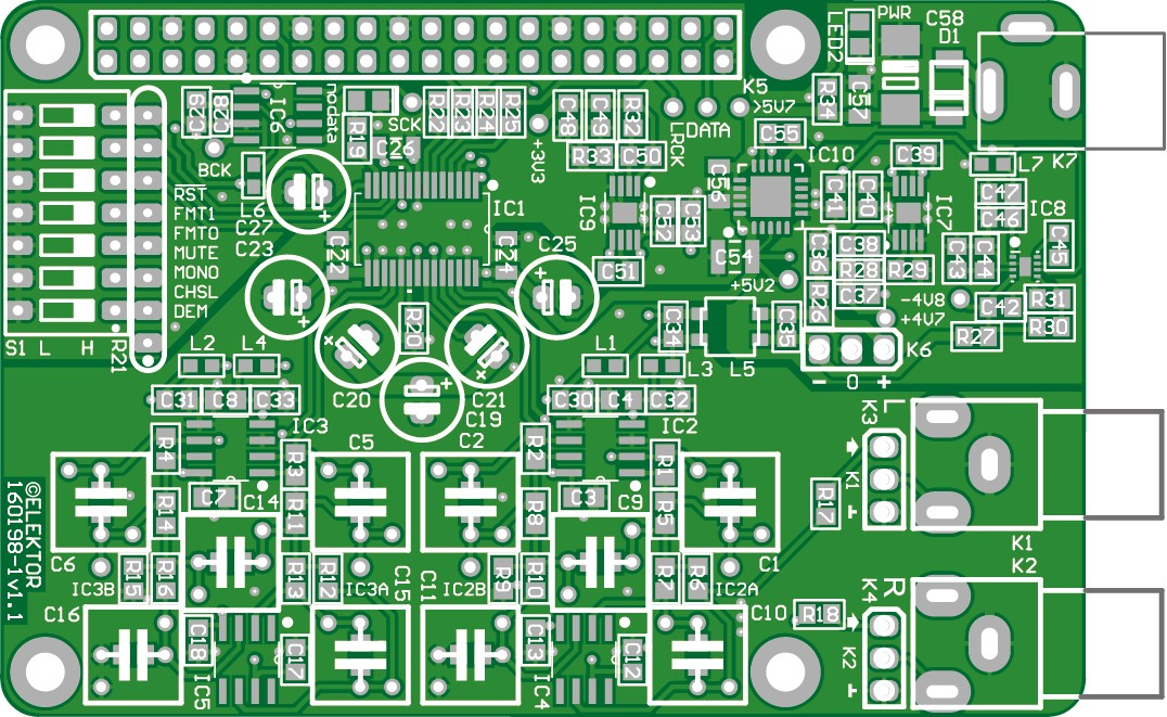 RPi High End Audio DAC - bare PCB  (160198)
