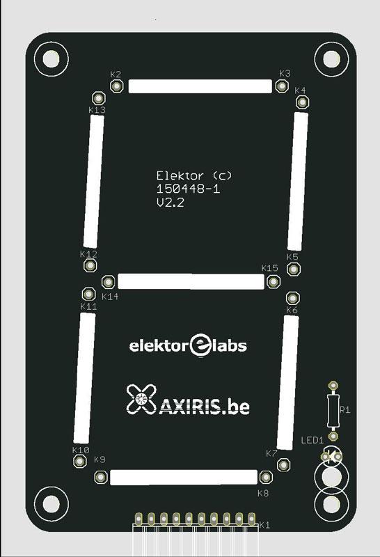 Circuit imprimé pour grand afficheur à 7 segments - Leditron (150448-1)