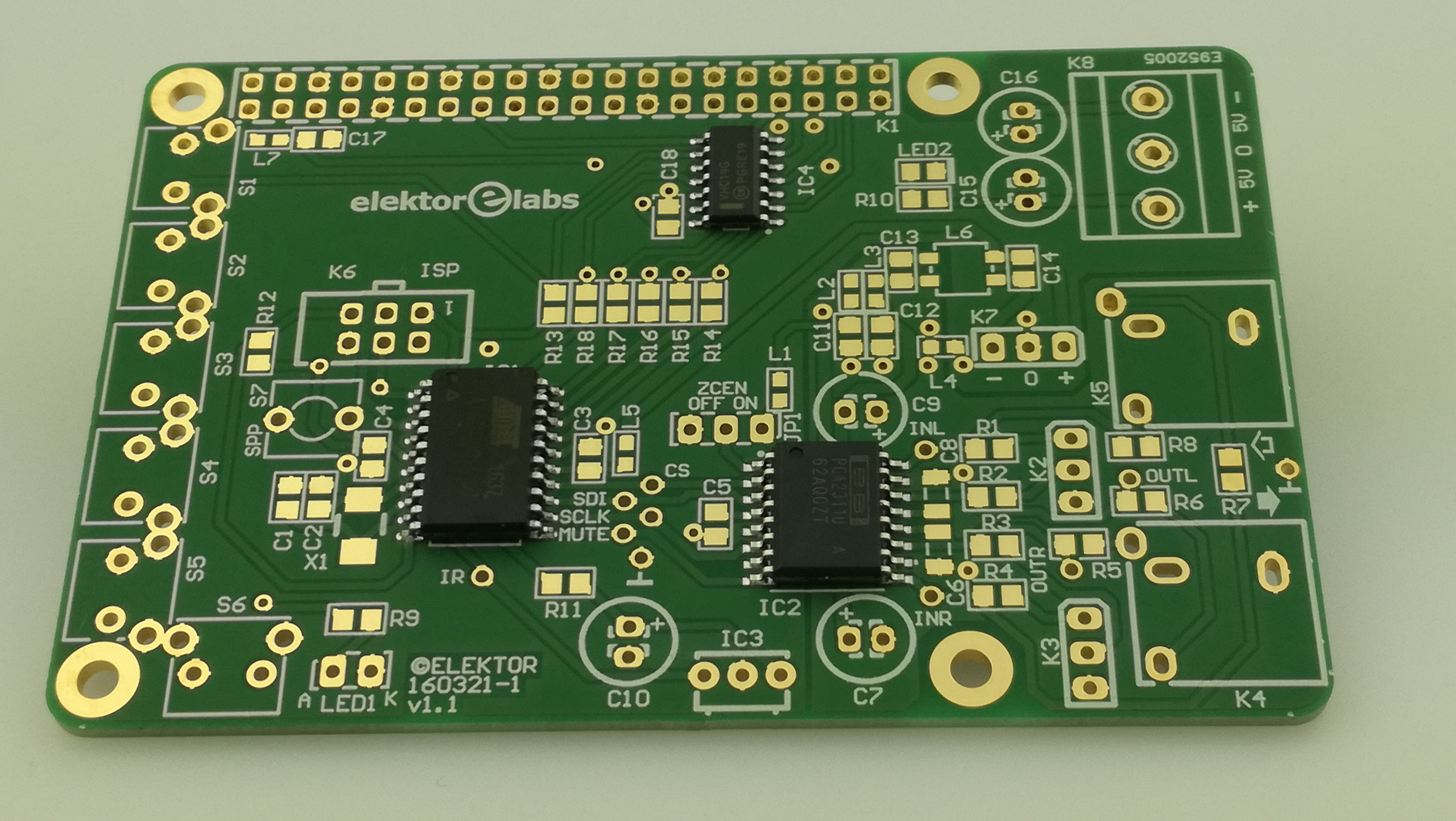 Volume Control for RPi Audio DAC - PCB with IC1,2,4 mounted (160321-1)