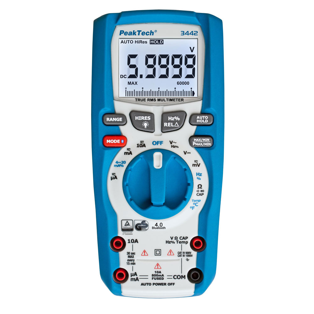 PeakTech 3442 True RMS Digital Multimeter with Bluetooth (60000 Counts)